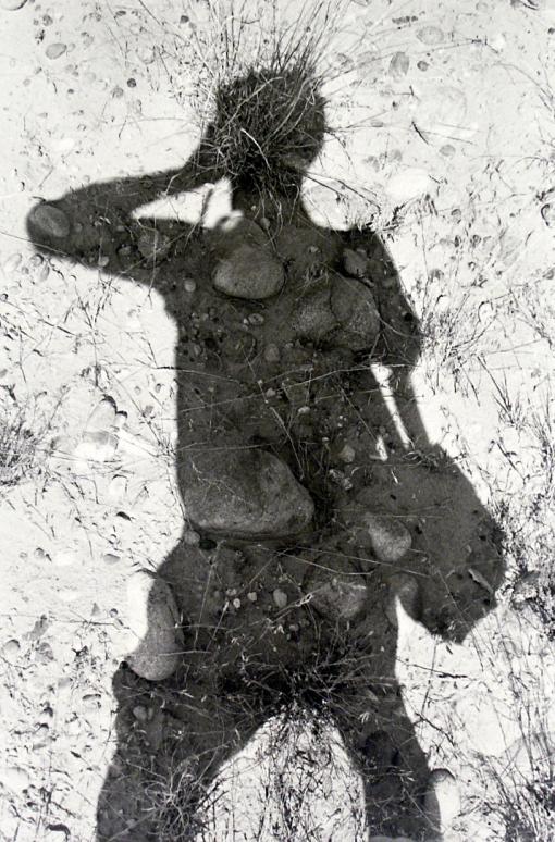 Rocas, guijarros, sombra, autorretrato
