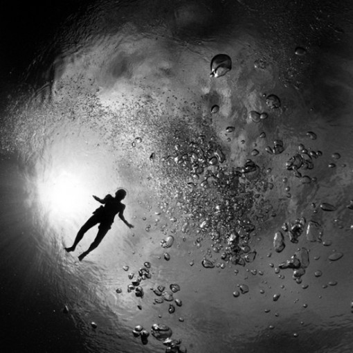 agua, mar buzo, blanco y negro