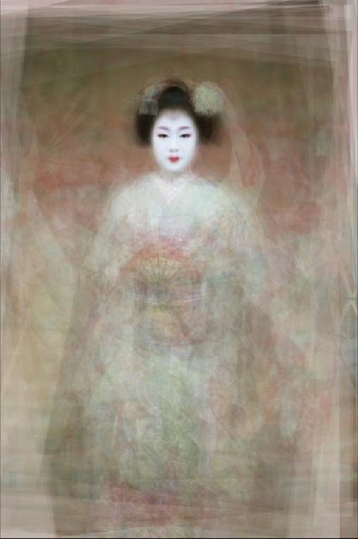 Retrato de 30 geikos y maikos bailando el Special Kyo Dance, Kyoto, 2003.